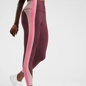 NWT Athleta Pink Crunch Colorblock Leggings